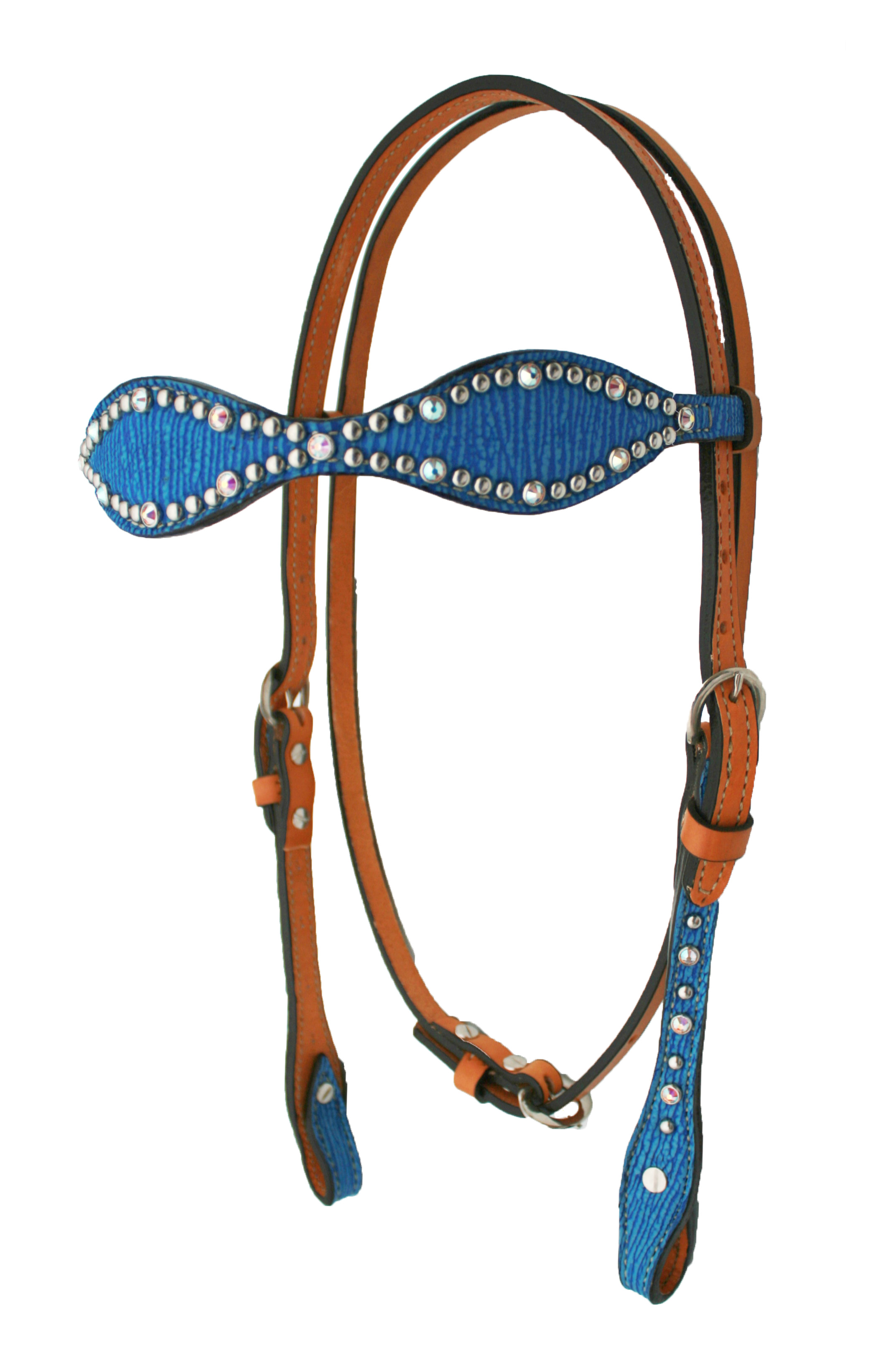 2065-JB ROYAL BLUE SHARK SCALLOPED HEADSTALL